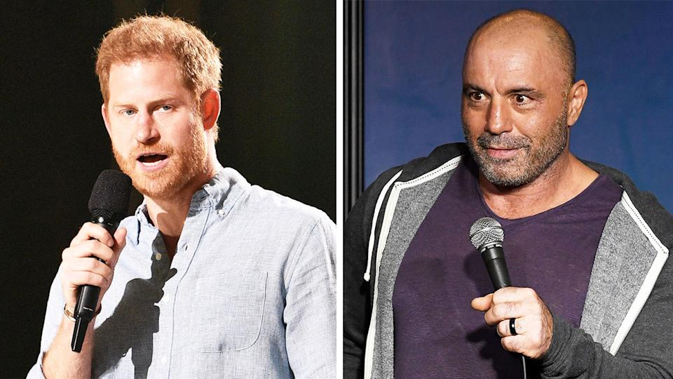 Prince Harry (pictured left) talking on stage and Joe Rogan (pictured right) at a comedy festival.
