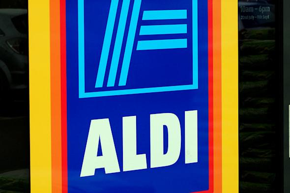 File photo dated 01/08/12 of an Aldi supermarket logo, as Britain's big four supermarket chains surrendered more ground to their discount rivals in the wake of a record quarter of growth for Aldi. PRESS ASSOCIATION Photo. Issue date: Tuesday April 8, 2014. All the main chains posted declining sales in the 12 weeks to March 30 - a period distorted by the later timing of Easter this year, latest till-roll figures from Kantar Worldpanel show . See PA story CITY Supermarket. Photo credit should read: Rui Vieira/PA Wire