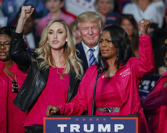 Donald Trump at a campaign rally with daughter-in-law Lara Trump and Omarosa Manigault in Charlotte, N.C., Oct. 14, 2016. (Photo: Erik S. Lesser/Epa/Rex/Shutterstock)