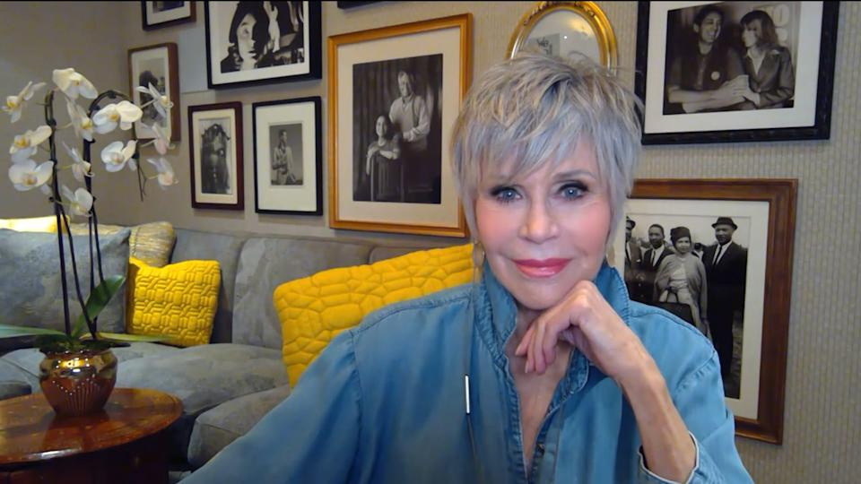 Pictured in this screen grab: Jane Fonda relaxing at home in front of a wall of photos. -- (Photo by: Bravo/NBCU Photo Bank via Getty Images)