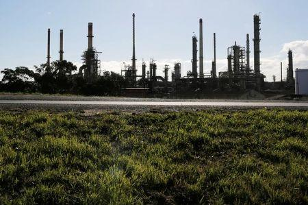 The Chevron Oil Refinery is seen in Cape Town