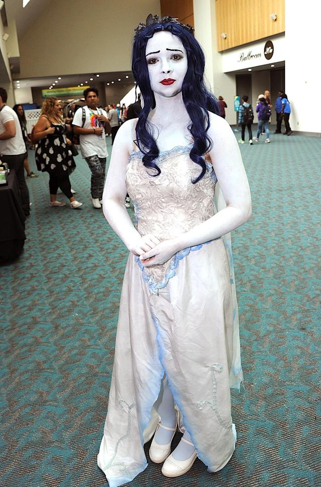 <p>Cosplayer dressed as Emily in Tim Burton's <em>Corpse Bride</em> at Comic-Con International on July 20 in San Diego. (Photo: Albert L. Ortega/Getty Images) </p>