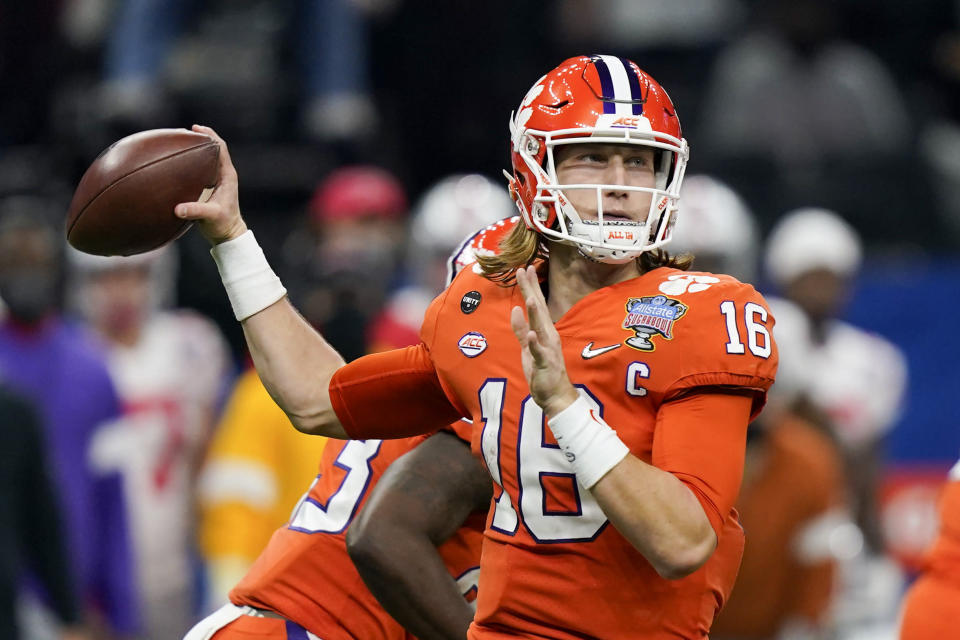 Clemson quarterback Trevor Lawrence passes against Ohio State during the first half of the Sugar Bowl NCAA college football game Friday, Jan. 1, 2021, in New Orleans. (AP Photo/Gerald Herbert)