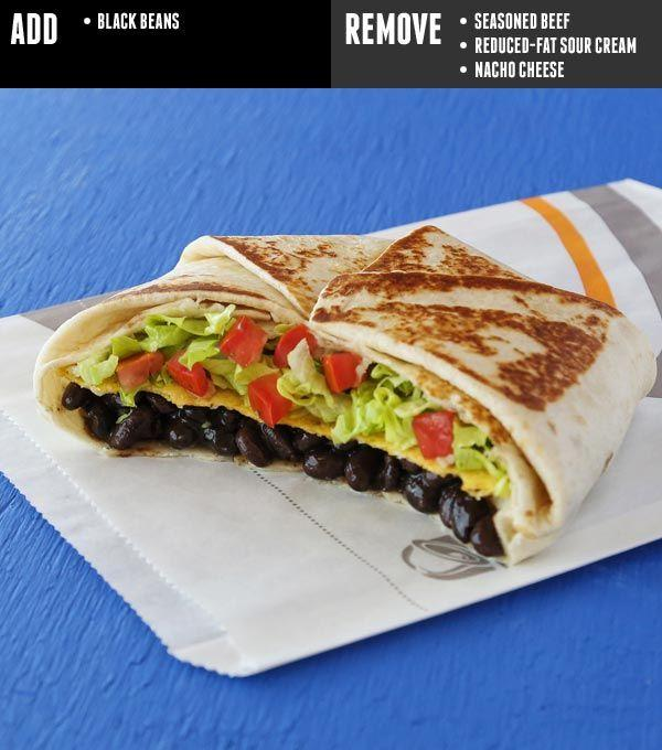 <p>Yes, you can totally enjoy a Crunchwrap Supreme as a vegan—just add black beans, and nix the beef, sour cream, and cheese. </p><p><em>Per serving</em><em>: 460 cal, 12 g fat (3 g sat), 74 g carbs, 5 g sugar, 900 mg sodium, 9 g fiber, 13 g protein</em></p>