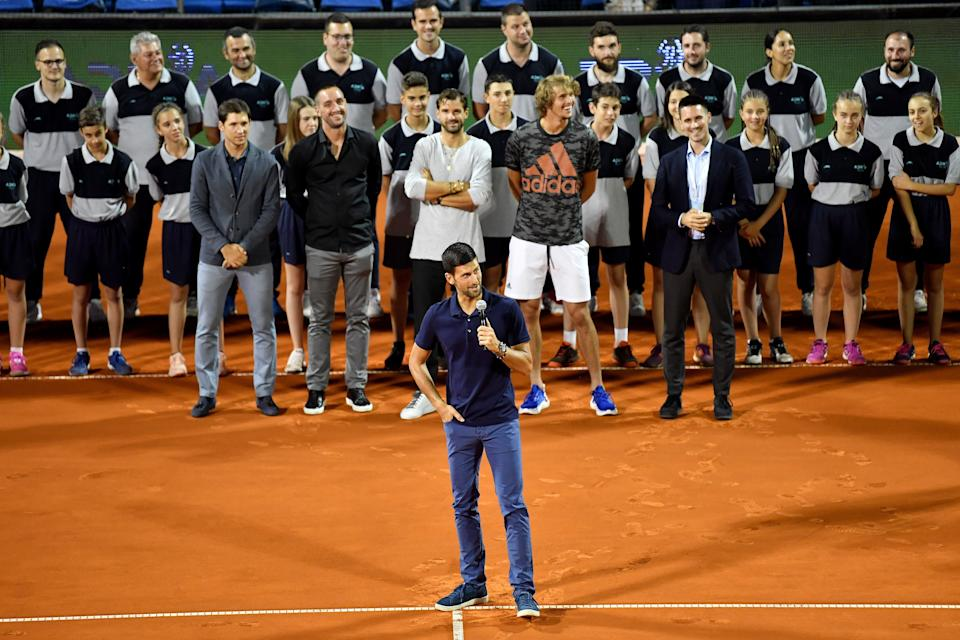 Novak Djokovic (pictured front) gives a speech after the final match between Dominic Thiem and Filip Krajinovic at the Adria Tour.