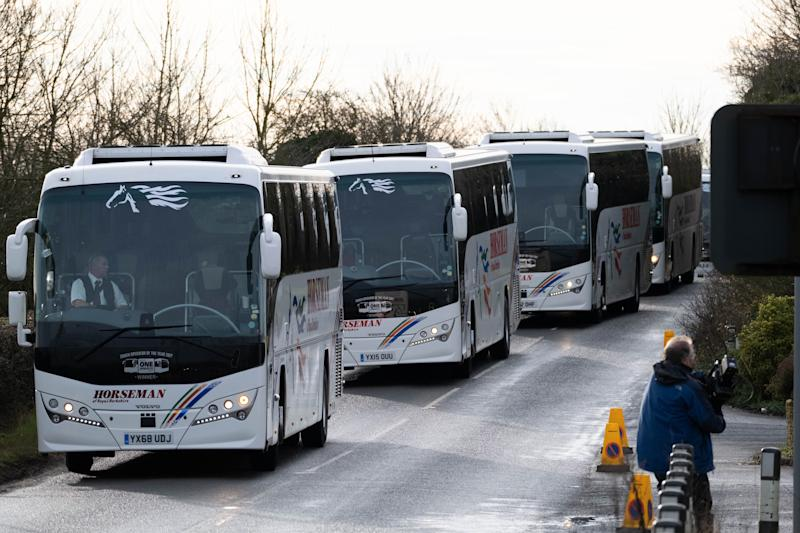 Coaches arrive at RAF Brize Nortonto carry the eighty-three Britons and 27 foreign nationals who were trapped in Wuhan - the Chinese city at the centre of the coronavirus outbreak - who are on a flight back to the UK. (PA Images)