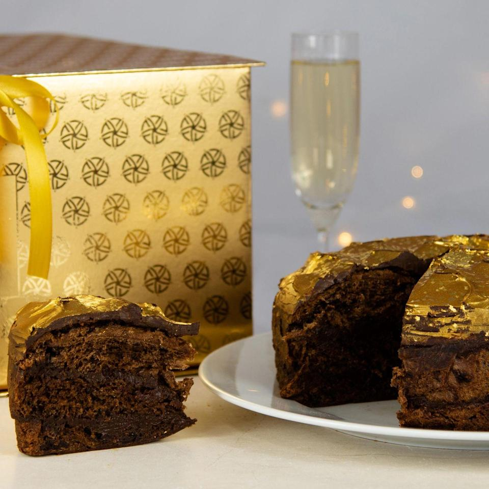"""<p><a class=""""link rapid-noclick-resp"""" href=""""https://www.sacla.co.uk/products/golden-panettone-italian-christmas-cake"""" rel=""""nofollow noopener"""" target=""""_blank"""" data-ylk=""""slk:SHOP NOW"""">SHOP NOW</a></p><p>Truly the king (or queen) of panettones, this very special creation from the De Riso bakery on the Amalfi Coast comes decorated with gold leaf and arrives on a presentation plate inside a golden gift box.</p><p>Gold panettone, £200, Sacla</p>"""