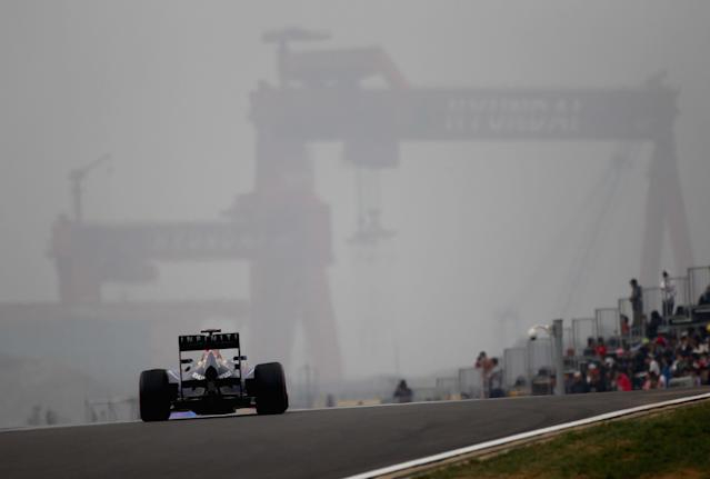 YEONGAM-GUN, SOUTH KOREA - OCTOBER 15: Sebastian Vettel of Germany and Red Bull Racing drives during the final practice session prior to qualifying for the Korean Formula One Grand Prix at the Korea International Circuit on October 15, 2011 in Yeongam-gun, South Korea. (Photo by Clive Mason/Getty Images)