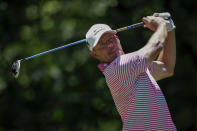 Alex Cejka, of Germany, tees off on the seventh hole during the final round of the Regions Tradition Champions Tour golf tournament Sunday, May 9, 2021, in Hoover, Ala. (AP Photo/Butch Dill)
