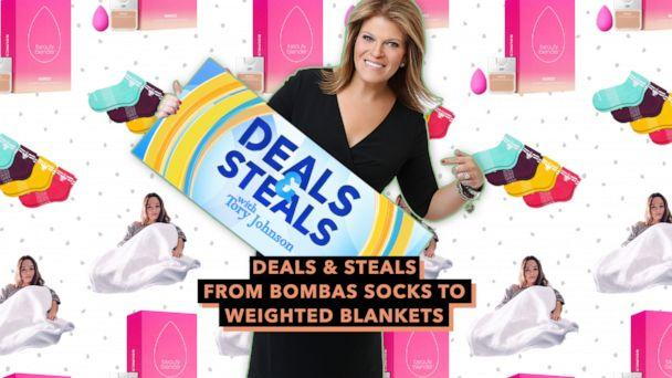 PHOTO: Deals and Steals from Bombas Socks to Weighted Blankets (ABC News Photo Illustration, Beauty Blender, Bombas, Blanquil)