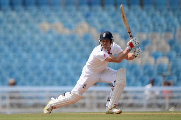 MUMBAI, INDIA - NOVEMBER 05:  Nick Compton of England bats during day three of the tour match between Mumbai A and England at The Dr D.Y. Palit Sports Stadium on November 5, 2012 in Mumbai, India.  (Photo by Gareth Copley/Getty Images)
