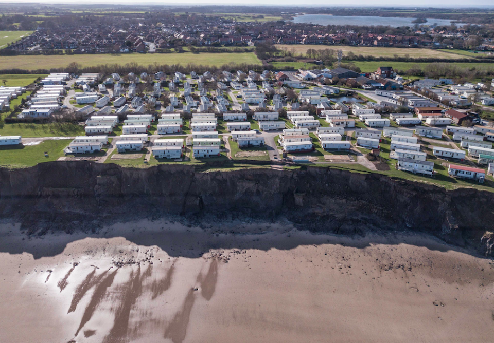 <em>Bosses at the holiday home site have had to relocate 12 homes so far this year due to the shocking change in the cliff face (SWNS)</em>