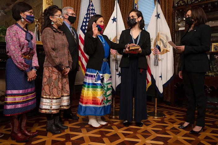 On March 18, Deb Haaland was sworn in as US Interior Secretary by Vice President Kamala Harris. (Photo: JIM WATSON/AFP via Getty Images)