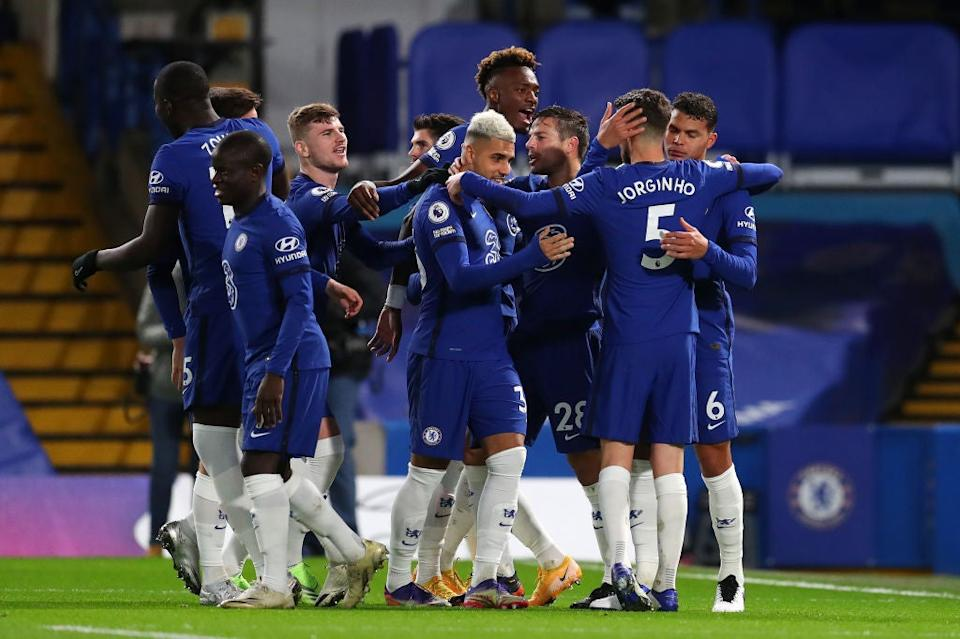 Chelsea players may not grouping together during celebrations in training (Getty)