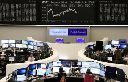 FILE PHOTO: The German share price index DAX graph is pictured at the stock exchange in Frankfurt, Germany, May 14, 2019.    REUTERS/Staff