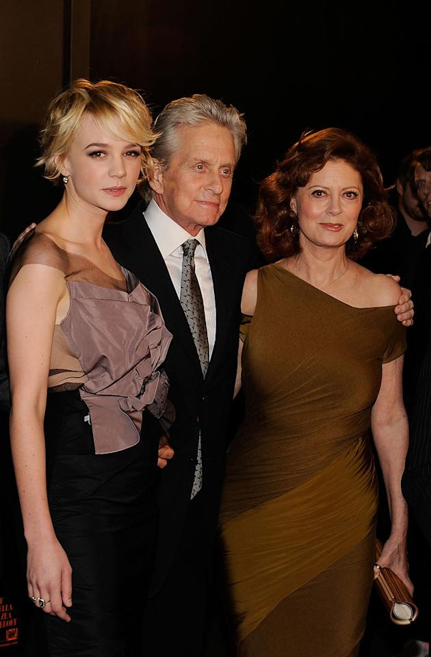 """<a href=""""http://movies.yahoo.com/movie/contributor/1808686699"""">Carey Mulligan</a>, <a href=""""http://movies.yahoo.com/movie/contributor/1800012782"""">Michael Douglas</a> and <a href=""""http://movies.yahoo.com/movie/contributor/1800019379"""">Susan Sarandon</a> attend the New York City premiere of <a href=""""http://movies.yahoo.com/movie/1810045848/info"""">Wall Street: Money Never Sleeps</a> on September 20, 2010."""
