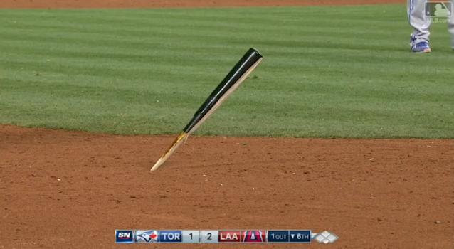 The bat that Chris Coghlan dodged was so sharp that it stuck right in the ground. (MLB.TV)