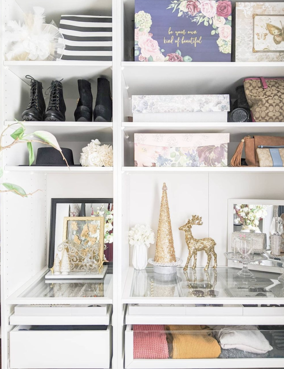 "<p>Clear glass or acrylic shelving and drawer fronts make it easier to identify exactly what's in each storage space. It's a particularly good option for accessories like jewelry, since you can quickly pick something that matches your outfit of the day. </p><p>See more at <a href=""https://www.instagram.com/p/CIWBd63HF9d/"" rel=""nofollow noopener"" target=""_blank"" data-ylk=""slk:Simply Patrice Designs"" class=""link rapid-noclick-resp"">Simply Patrice Designs</a>. </p>"