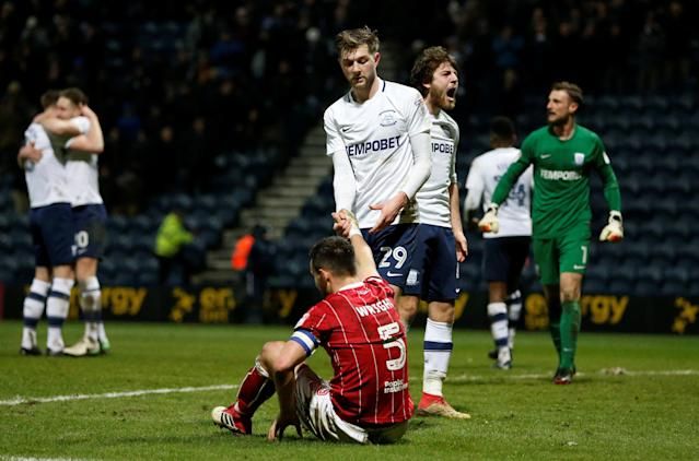 "Soccer Football - Championship - Preston North End vs Bristol City - Deepdale, Preston, Britain - March 6, 2018 Preston North End's Ben Pearson celebrates after the match Action Images/Ed Sykes EDITORIAL USE ONLY. No use with unauthorized audio, video, data, fixture lists, club/league logos or ""live"" services. Online in-match use limited to 75 images, no video emulation. No use in betting, games or single club/league/player publications. Please contact your account representative for further details."