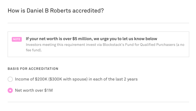 An accreditation check on CoinList. The reporter does not qualify in either metric!
