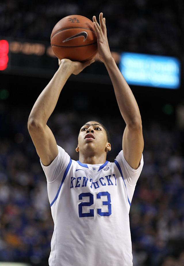 LEXINGTON, KY - FEBRUARY 18: Anthony Davis #23 of the Kentucky Wildcats shoots the ball during the game against the Ole Miss Rebels at Rupp Arena on February 18, 2012 in Lexington, Kentucky. (Photo by Andy Lyons/Getty Images)