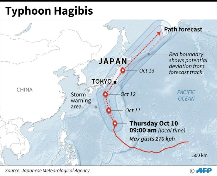 Map showing forecast path of typhoon Hagibis which is approaching Japan and threatens to disrupt the Rugby World Cup