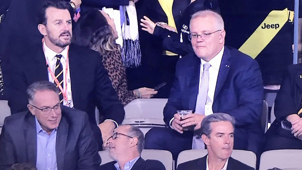 Scott Morrison, pictured here at the AFL for Richmond's clash with Carlton.