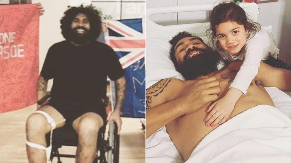 Mose Masoe was being treated in an English hospital for a career-ending spinal injury. Pic: Instagram
