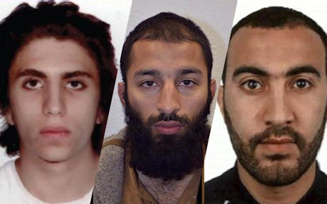 <p>Youssef Zaghba, Khuram Shazad Butt, & Rachid Redouane have been named as the suspects in Saturday's attack at London Bridge. (Photo: Metropolitan Press via AP) </p>