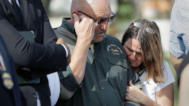 PHOTO: Pastor Frank Pomeroy and his wife Sherri join a news conference near the First Baptist Church of Sutherland Springs, Nov. 6, 2017, in Sutherland Springs, Texas. Their daughter, Annabelle, 14, was killed in the shooting.  (Eric Gay/AP)