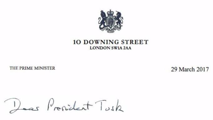 Theresa May's letter to Donald Tusk (Downing Street)