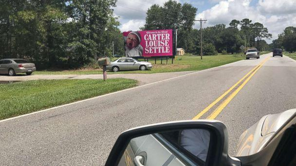 PHOTO: Kelen and Will Settle were surprised when his coworkers put up a giant billboard announcing their daughter's birth along a South Carolina highway. (Courtesy of Kelen and Will Settle)