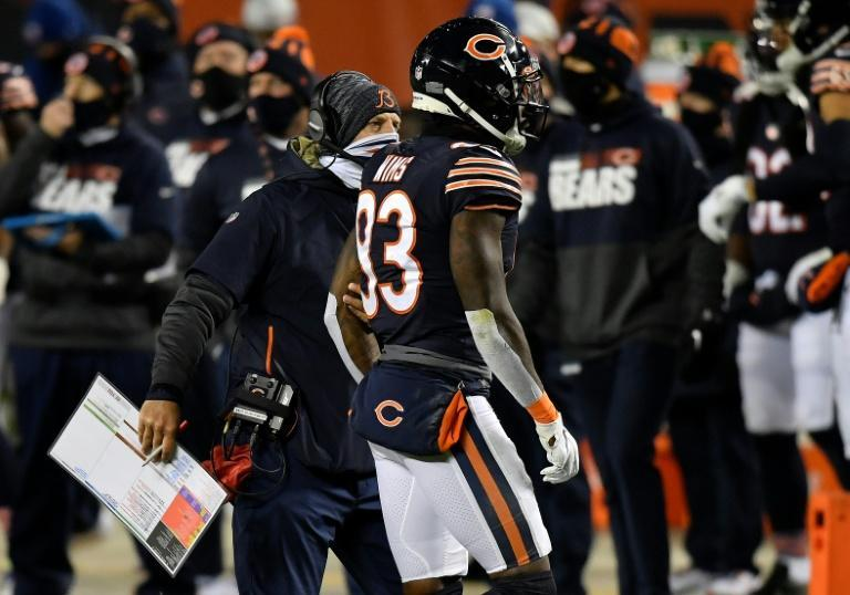 Chicago Bears receiver Javon Wims heads off the field after being ejected for fighting during Sunday's game with the New Orleans Saints