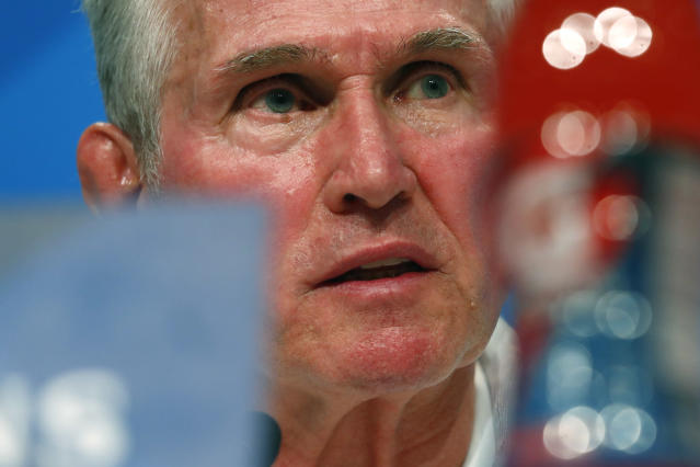Bayern coach Jupp Heynckes attends a news conference in Munich, Germany, Tuesday, April 24, 2018. FC Bayern Munich will face Real Madrid for a Champions League semi final first leg soccer match in Munich on Wednesday, April 25, 2018. (AP Photo/Matthias Schrader)