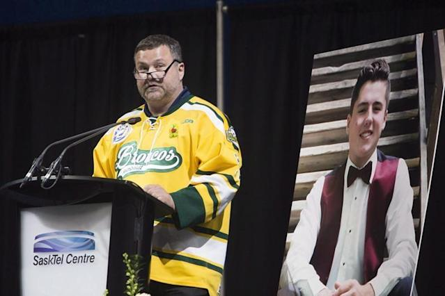 """Families of those who died in the Humboldt Broncos bus crash say scholarships, events and places named in their honour helps keep their memories alive.Sixteen people — including 10 players and the head coach — were killed and 13 players were injured one year ago when the junior hockey team's bus and a semi collided at a rural intersection in Saskatchewan.Dozens of bursaries and scholarships have been created in memory of those killed. Their names are also attached to arenas, dressing rooms, playgrounds and even a snowmobile shack.Scott Thomas of Saskatoon, who lost his son Evan, said the memorials are an important part of grieving.""""It means the world to our family,"""" he said. """"It's just a way to keep his name alive, if you will. To us, it's a statement about the impact that he had in those communities in the short amount of time that he was here on this Earth.""""Thomas said some of the honours are related to the size and scope of the tragedy that hit the hockey team.""""On the other hand, I think a lot of it is just about Evan. He affected a lot of people. He was just a good kid.""""Many parents said they have been inundated with support from their communities.""""It's kind of overwhelming,"""" said Carol Brons of Lake Lenore, Sask. Her daughter, Dayna, the team's athletic therapist, was killed.""""When she passed away, we knew we wanted to set up something ... to help.""""They directed money to the Royal University Hospital in Saskatoon and Mount Royal University in Calgary in the weeks after she died.Since then, Brons said, there have also been bursaries created at the University of Regina and through the CFL Saskatchewan Roughriders. """"It's a way to give somebody else an opportunity to do what they want to do.""""Several families have also created memorial trusts and foundations as a way to give back to the community.""""You're trying to keep Adam's memory alive and let people know the person he was,"""" said Russell Herold of Montmartre, Sask., whose family created the Adam Herold Memorial Fo"""
