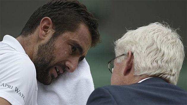 Cilic broke down in tears midway through the match. Pic: AP