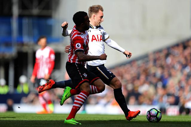<p>Christian Eriksen lines up a shot against Southampton </p>