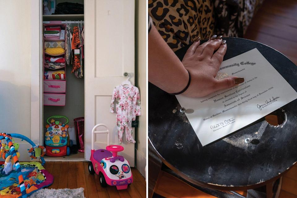 Since losing custody of her daughter in June 2020, M. has prepared a bedroom for the baby and graduated from community college.