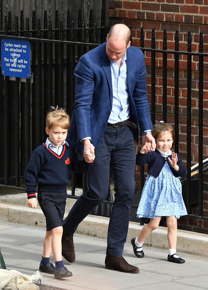 "<p>For a trip to visit their little brother at St Mary's hospital for the first time, Prince George arrived in his school uniform. Princess Charlotte on the other hand caused a fashion stir, as her £43 smock <a rel=""nofollow"" href=""https://littlealicelondon.com/products/periwinkle?variant=40049733268"">dress</a> by Little Alice London soon sold out. <em>[Photo: Getty]</em> </p>"
