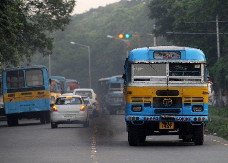 Buses are pictured in Kolkata on July 31, 2009