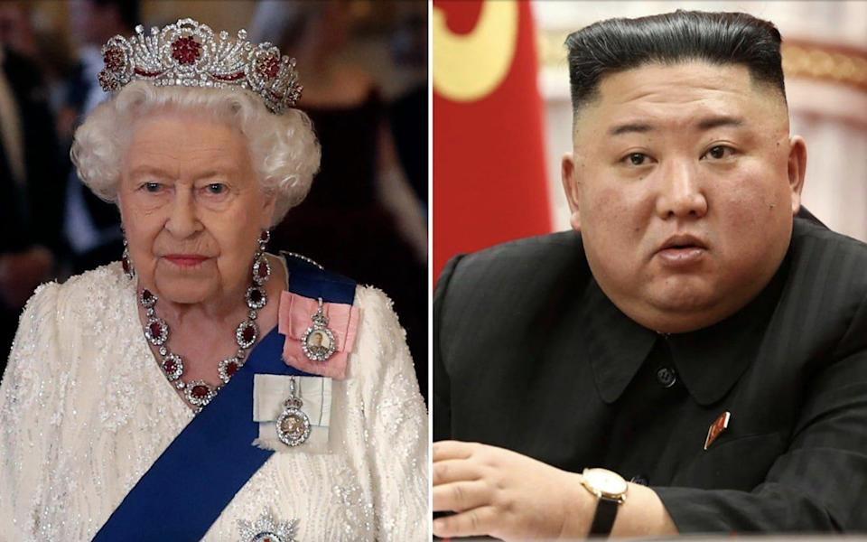 Kim Jong-un (right) was reported to have received the Queen's message on September 7
