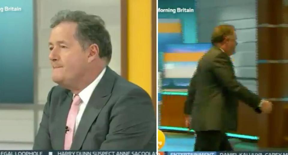 Piers Morgan walks off-set on<em> Good Morning Britain</em>. (ITV)