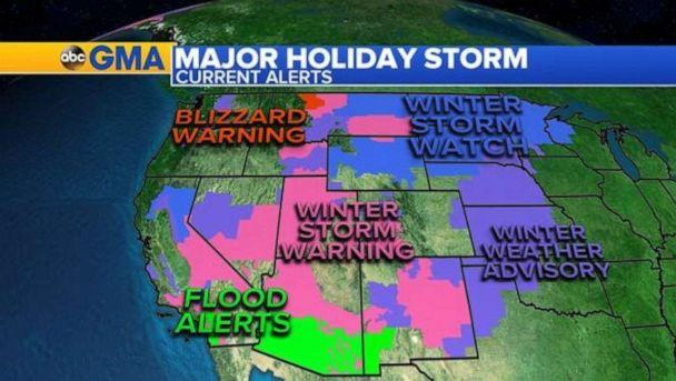 PHOTO: Twenty states from California to Michigan are under alert as the major storm out west continues to bring heavy mountain snow, blizzard conditions ice, flooding rain, and gusty winds across the region. (ABC News)