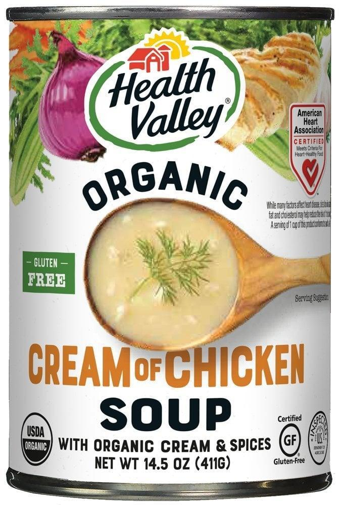 <p>Made with organic chicken, this <span>Health Valley Organic Soup Cream of Chicken</span> ($26 for 12) is also a great gluten-free choice.</p>