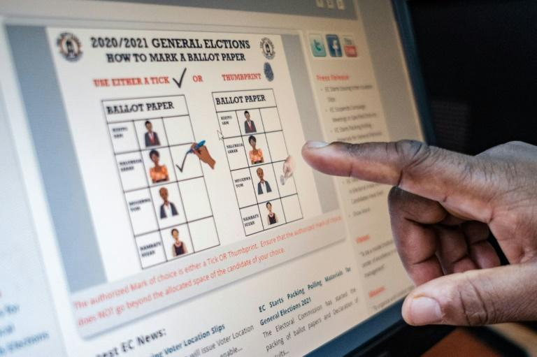 Like this: A staff member at Uganda's electoral commission points to a screen displaying how a ballot paper should be marked