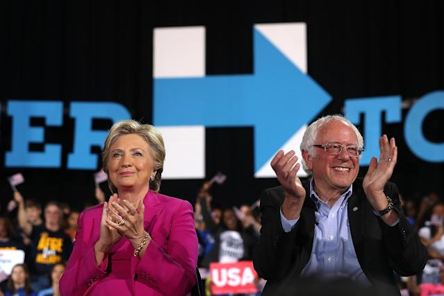 Hillary Clinton and Bernie Sanders at a campaign rally in Raleigh, N.C., Nov. 3, 2016. (Justin Sullivan/Getty Images)