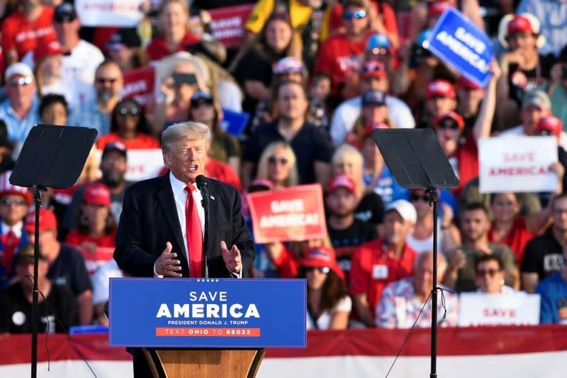 Former U.S. President Trump holds a rally in Wellington, OH