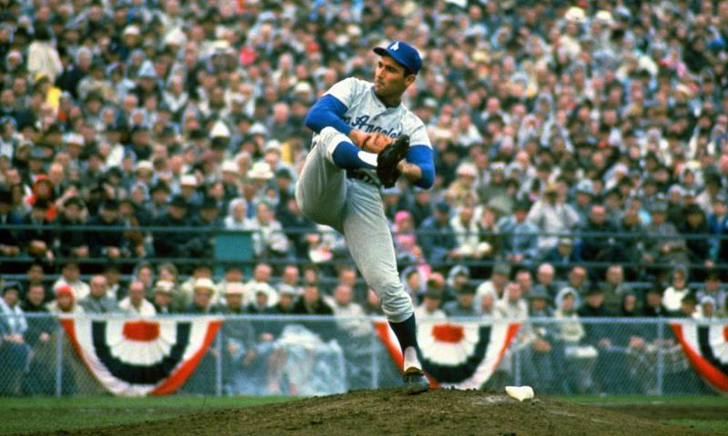 Legendary left-handed Brooklyn and Los Angeles Dodgers pitcher Sandy Koufax.