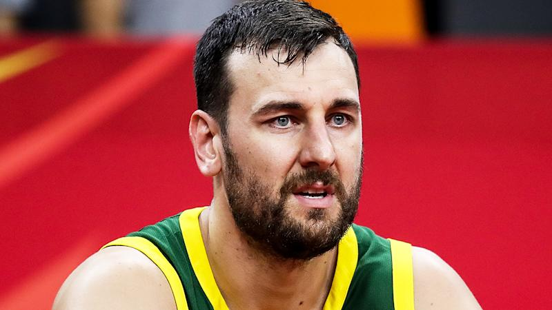 Andrew Bogut, pictured during the FIBA World Cup, was captured on video labelling FIBA a 'f***ing disgrace' after Australia's loss to Spain.