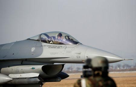 A U.S. Air Force F-16 fighter jet takes part in a joint aerial drill exercise called 'Vigilant Ace&#39 between U.S. and South Korea at the Osan Air Base in Pyeongtaek